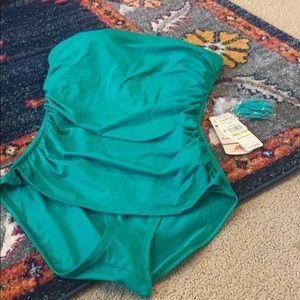 Tommy Bahama kelly green Bando bathing suit